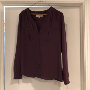 Loft purple button up blouse